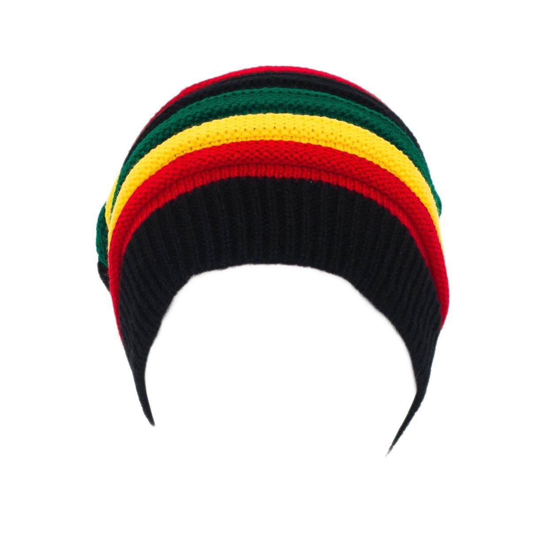 Hombres Damas Skullies Beanie Sombrero/Gorra acanalado rayas - rojo ...