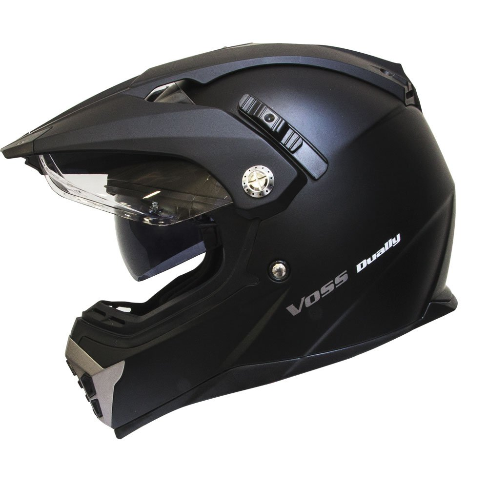 Amazon.com: Voss 600 Dually Dual Sport Helmet with Integrated Sun Lens and Removable Peak. DOT - XL - Matte Black: Automotive