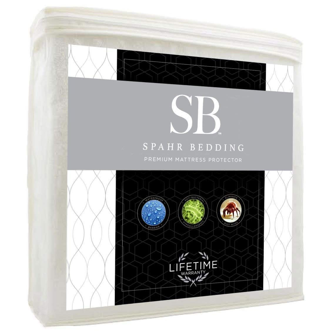Spahr Bedding Waterproof Mattress Protector - Hypoallergenic Mattress Cover - Cotton Terry Bed Topper for Dust Mite, Allergy Protection - Noiseless, Cool-Sleeping, Breathable - Twin XL Size SB Spahr Bedding