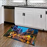 Foldable Thicken Rug pubs and bars with neon lights in the french quarter new orleans usa Ma x imum Absorbent Soft W36'' x H20''