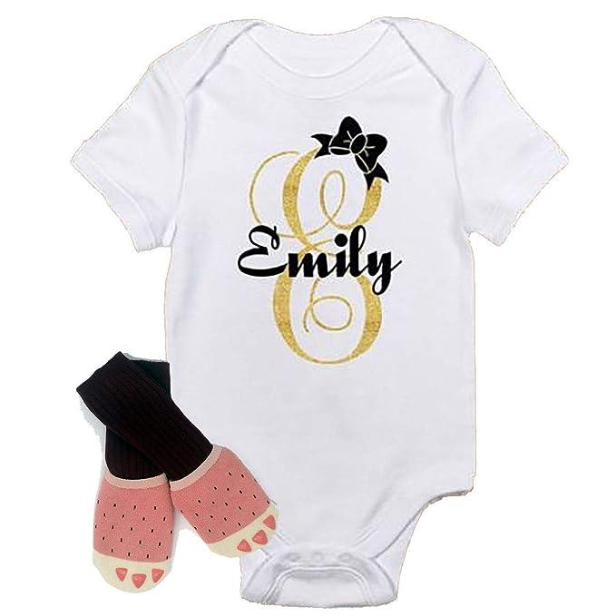 925eebfacb603 Amazon.com: Unique Sparkle Personalized Cute Baby Girl Onesie Pink ...