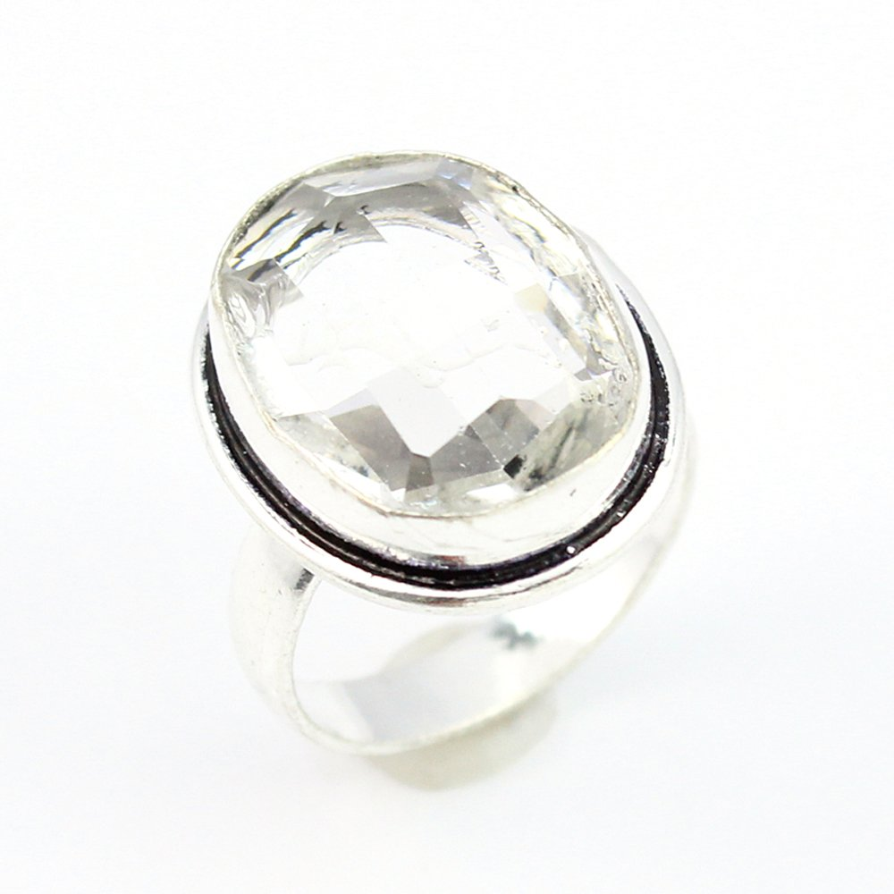 CRYSTAL STONE FASHION JEWELRY .925 SILVER PLATED RING 9 S15757