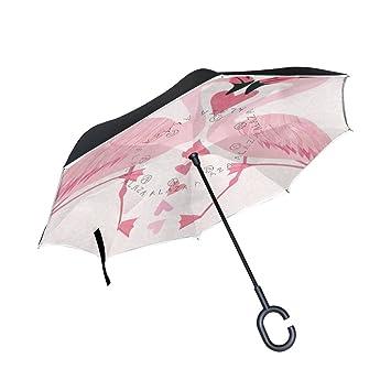 jstel doble capa puede Love Flamingo corazón paraguas coches ...