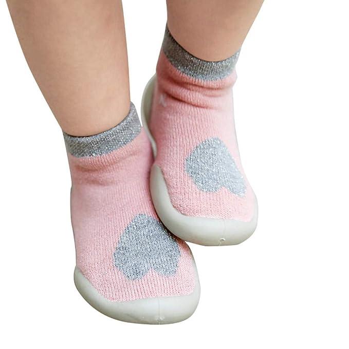 ZHRUI Zapatos de calcetines antideslizantes para niños pequeños Botas Calcetines para niños, Niños Bebés, Niños Suela inferior de goma antideslizante Suelas ...
