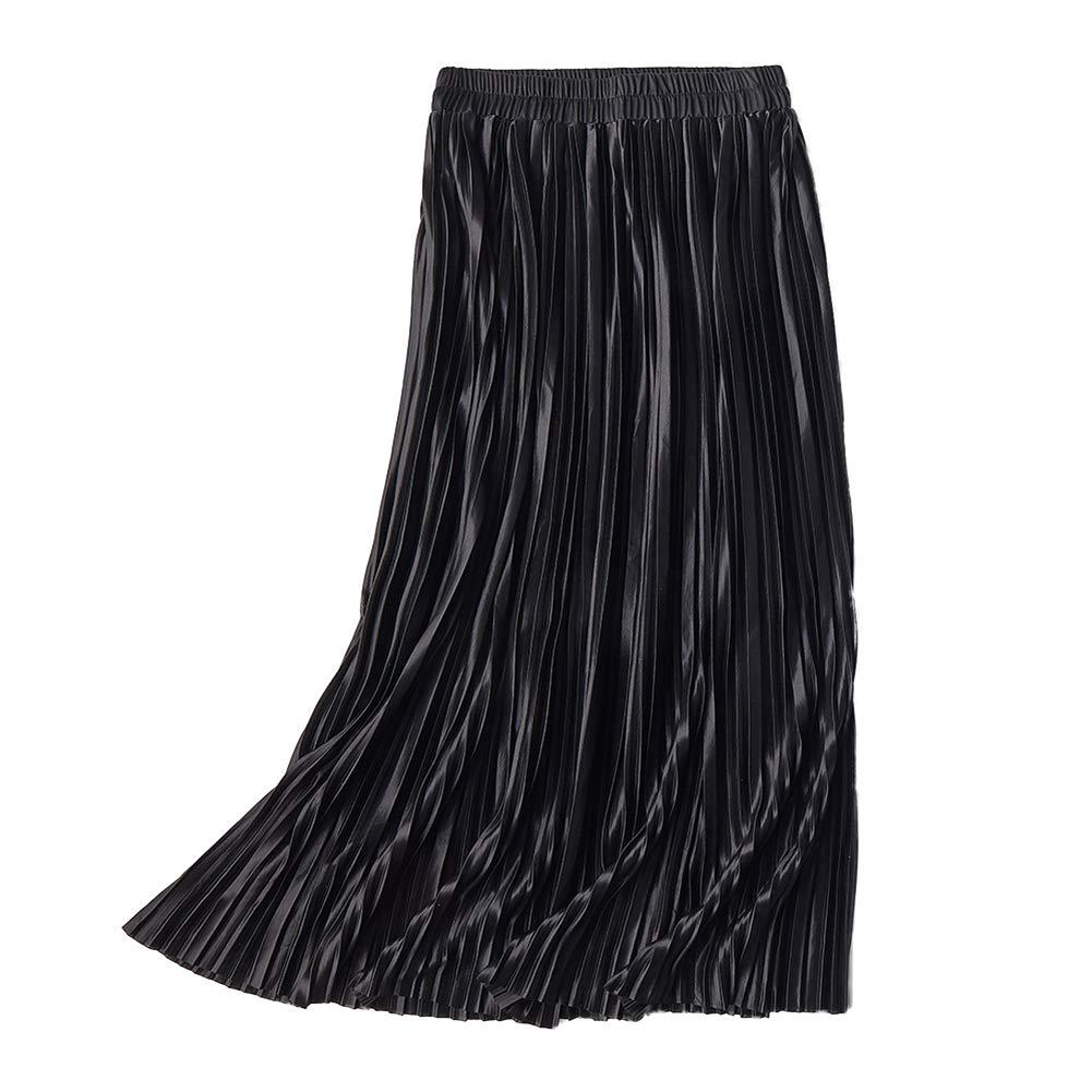 LANSHANQUE Women's Pleated Elastic High Waist Summer Casual Flowy Midi Skirt