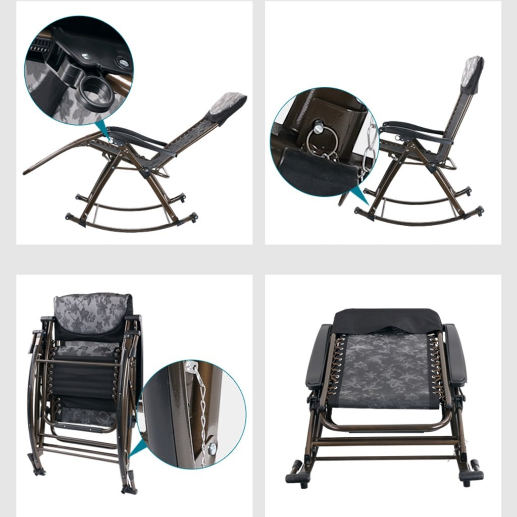 Amazon.com : Rocking Chairs Living Room Balcony Lazy Chair Multi-Function Folding Health Chair Elderly Lounge Chair Office Chair (Color : Black, ...