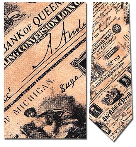 Men's 100% Silk Beige Confederate Currency Bank Notes Money History Tie Necktie