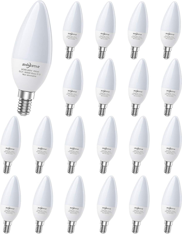 SHINESTAR 20-Pack E12 LED Bulbs for Ceiling Fan, 60W Equivalent Daylight Candelabra Base Light Bulb 5000K for Chandelier, Type B Bulb, Non-dimmable