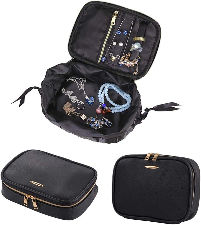 Bolsas de viaje organizador de joyas rollos de bolsa caso Holder caja de piel sintética con cremallera mujer joyas collar y pendientes cajón bolsa de almacenamiento: Amazon.es: Hogar