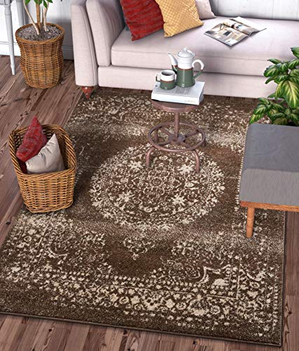 Well Woven Francesca Medallion Brown Distressed Traditional Vintage Persian Floral Oriental Accent Area Rug 4x5 (3'11