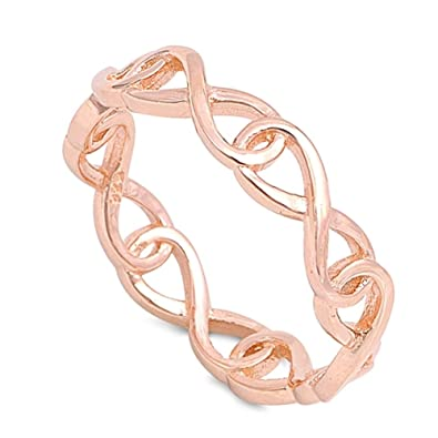 Rose Gold Tone Plated Sterling Silver Wrap Around Infinity Ring