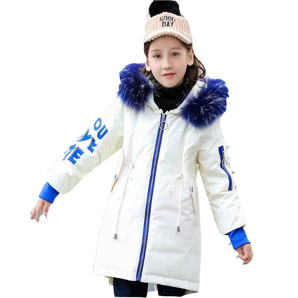 ef9786bfec96 Amazon.com  Girl s 6-14Y Real Fur Hooded Thick Warm White Duck Fur Winter  Down Coats Big Girl s Outdoor Jacket  Clothing