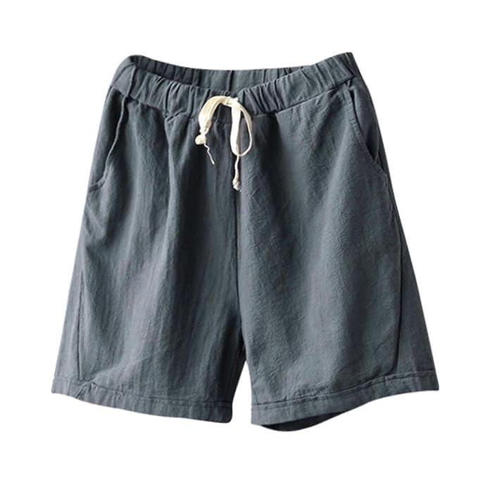 f0ff37b5c0e78c VRTUR Bermuda Baumwolle Leinen Shorts Damen Sommer Kurze Hose mit Gummizug  Loose Stoffhose Stretch Hotpants