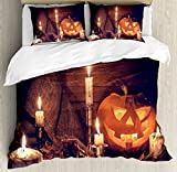 Halloween Duvet Cover Set King Size by Ambesonne, Rustic Home Wooden Planks Burning Candles Pumpkin Sackcloth Harvesting Holiday, Decorative 3 Piece Bedding Set with 2 Pillow Shams, Orange Brown