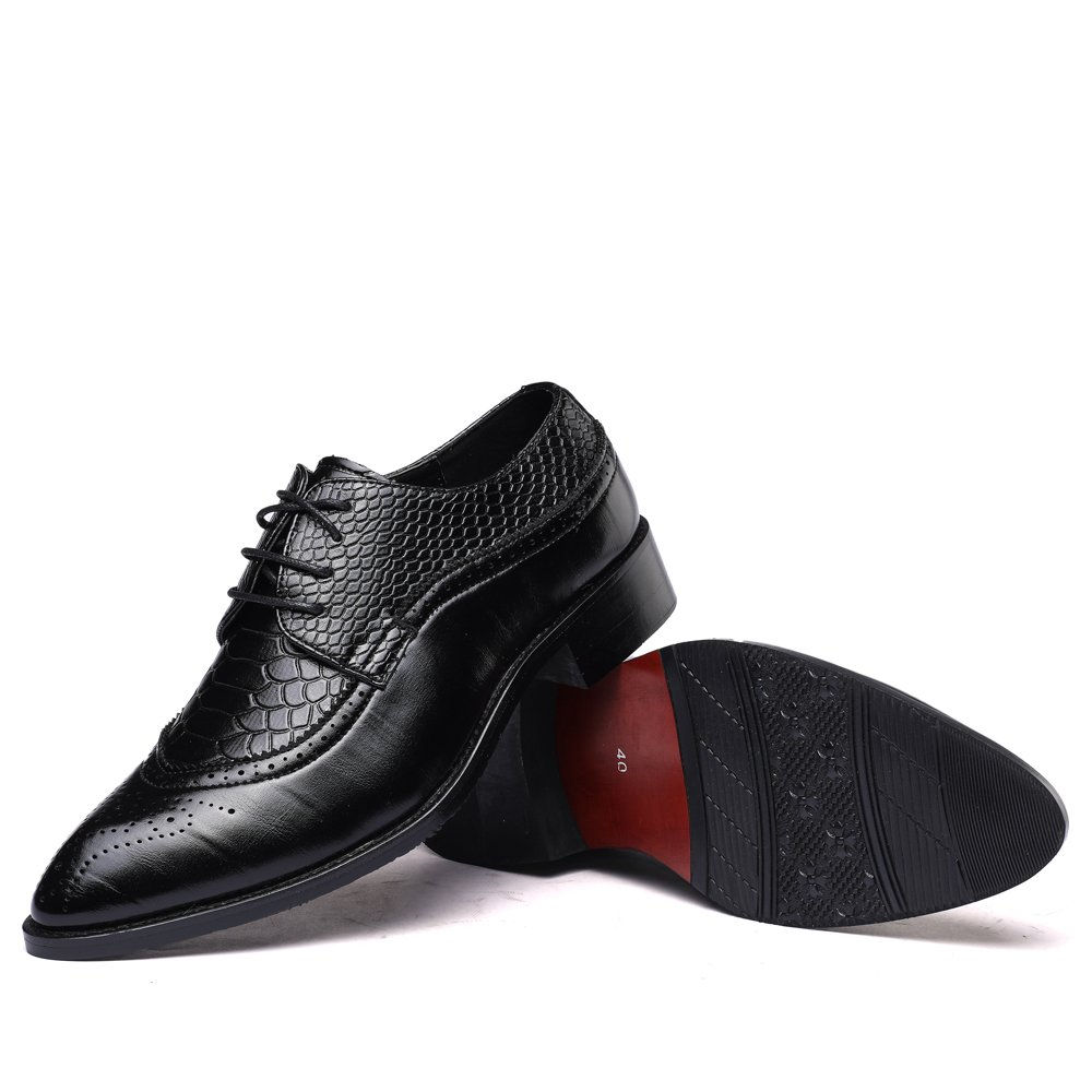 WULFUL Men's Leather Dress Oxfords Shoes Business Retro Gentleman Black 7.5-8 D(M) US by WULFUL (Image #6)