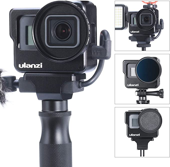 ULANZI V3 Pro Vlog Cage for GoPro Hero 7//6//5 Quick Release 1//4 Screw Tripod Head Mounting /& Adapter for GoPro Microphone//Fill Light Extension Dual Cold Shoe Mount Bracket