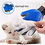 #7: Pet Grooming Glove Hair Remover Brush Gentle Deshedding Efficient Pet Mitt Pet massage gloves Left & Right Hand for Dogs Cats Horses with Long or Short Fur (Blue,1 Pair)