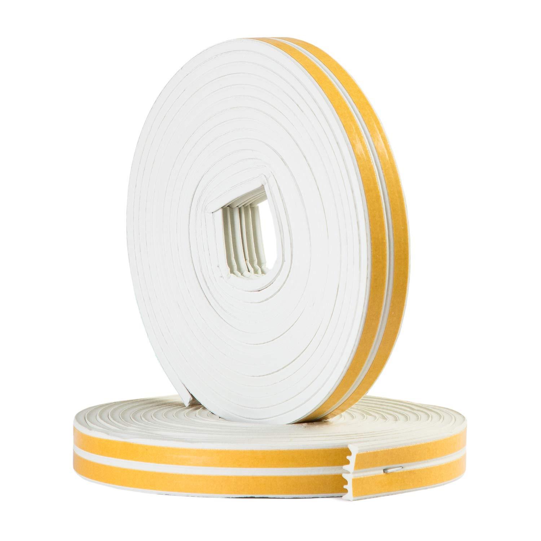 Sanojtape Dichtungsband P-Profil Wei/ß 16 Meter Selbstklebende EPDM-Gummidichtung Ideal D/ämmung Isolierung Fenstern T/üren 16 Meter Energieeffizienz P-Profil