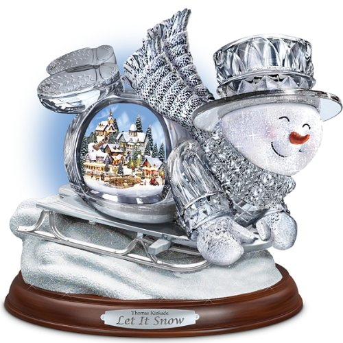 Thomas Kinkade Crystal Sledding Snowman: Let It Snow Figurine by The Bradford Exchange