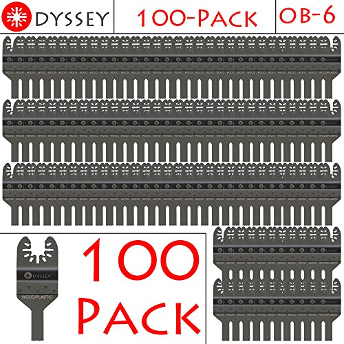 Odyssey Oscillating Multitool Thin 3/8 inch Wide Wood Plastic Saw Blade Fits Fein Multimaster Bosch Makita Genesis Dremel Craftsman Ridgid Ryobi Makita Milwaukee Dewalt Rockwell Multi Tools (100 Pack)