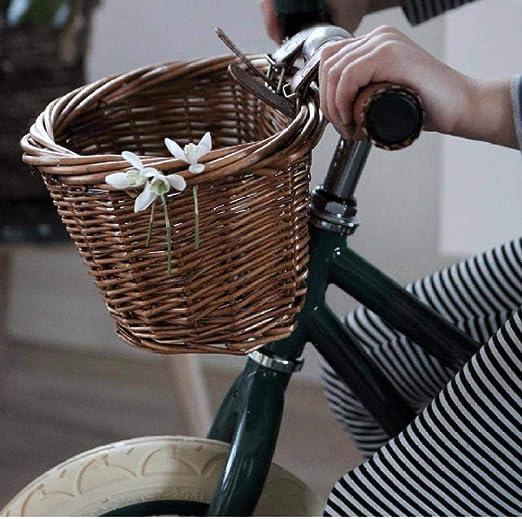 BACKZY MXJP Perreraestilo Vintage Bicicleta De Mimbre Bicicleta Hecha A Mano Cesta Delantera Caja De Compras Accesorios Deportivos Al Aire Libre Portátil: Amazon.es: Productos para mascotas