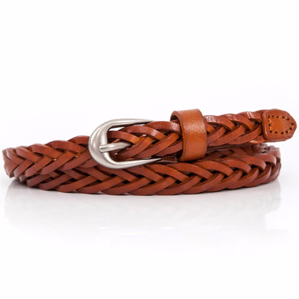 SAIBANGZI Ms Women All Seasons 'S Head Layer Leather Belt Fine Weave Leisure Hundred Women'S Belts Decorate Skirt Belt Girlfriend Present Brown 90Cm