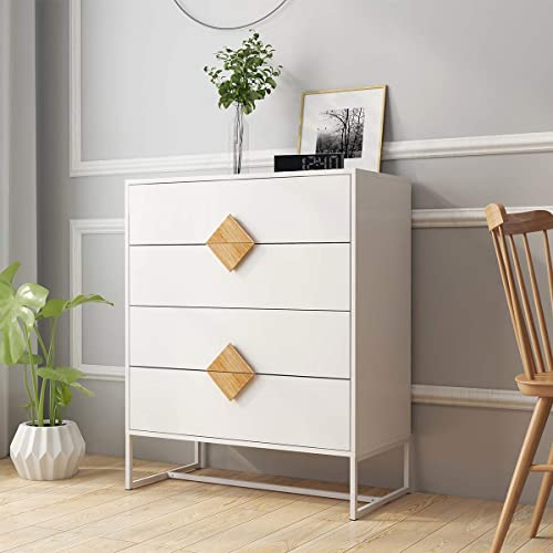 Chest of Drawers RASOO White 4 Drawer Dresser Chest Bedside Drawer Cabinet Storage