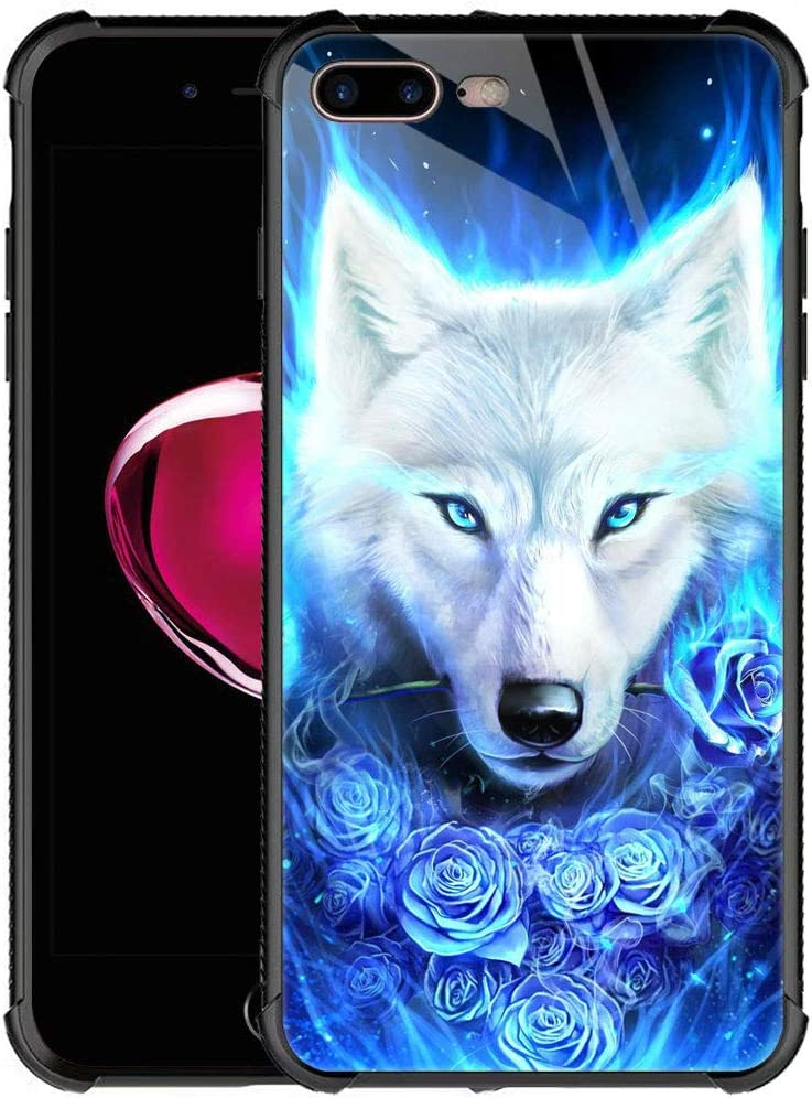 iPhone 8 Case iPhone SE 2020 Case,9H Tempered Glass iPhone 7 Cases for Girls Women Boys,White Wolf Flower Pattern Design Shockproof Anti-Scratch Glass Case for Apple iPhone 7/8/SE2 4.7-inch