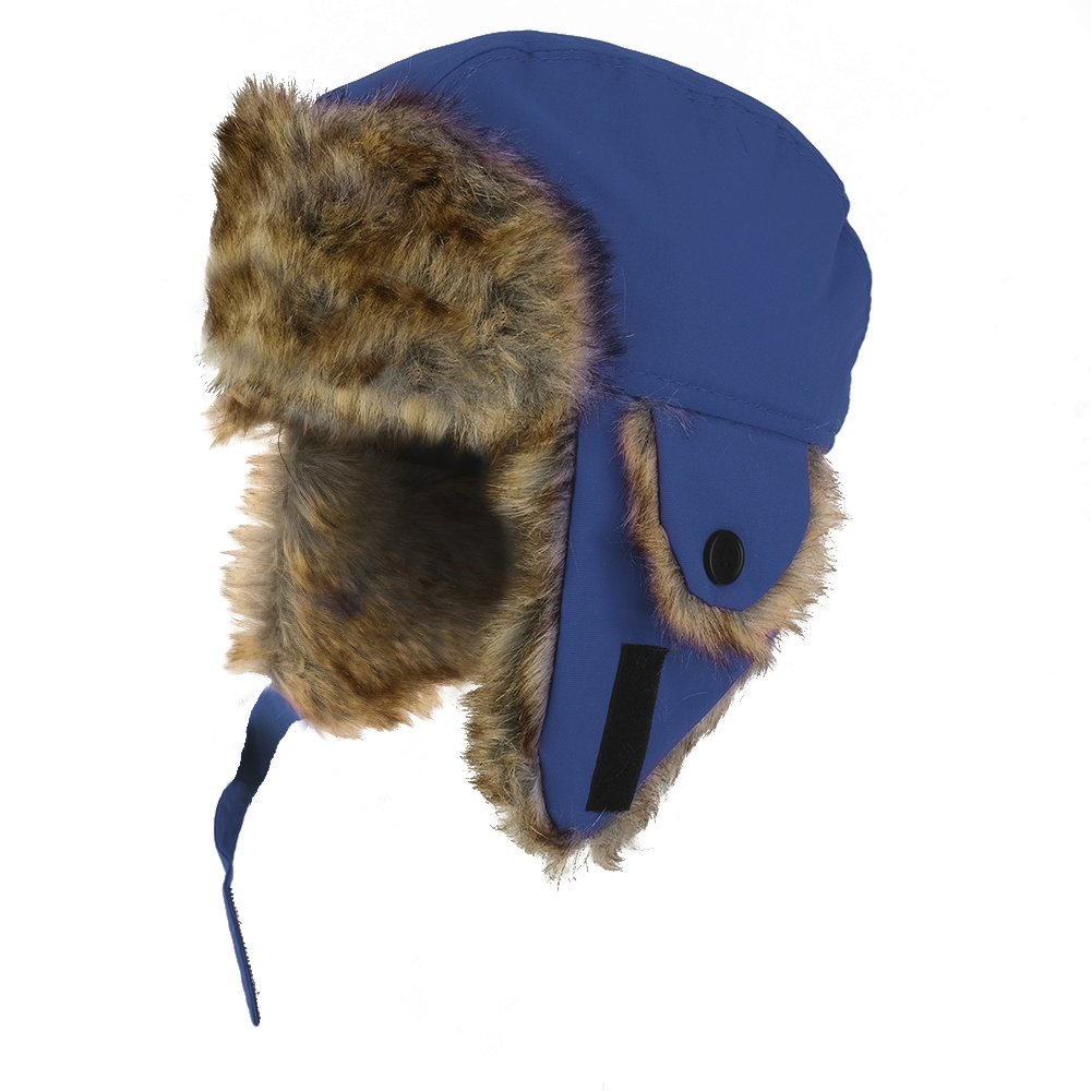 Youth Size Winter Trapper Hat with Faux Fur Lining and Ear Flaps Navy) 1229-TRAPPER-NAVY