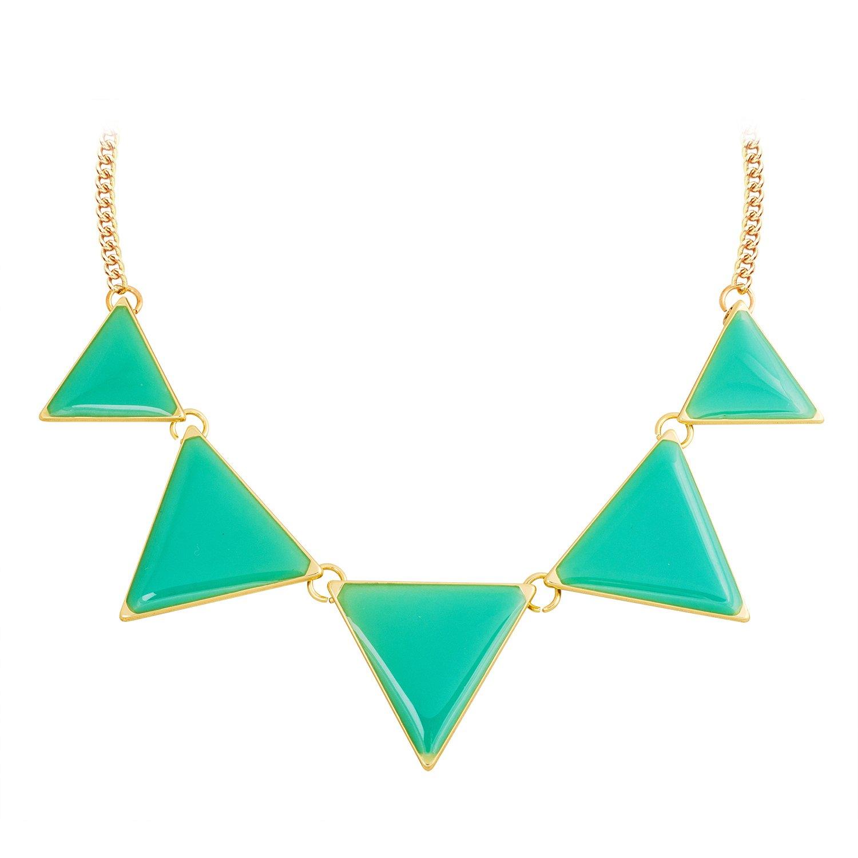 Jane Stone Fashion Jewelry Necklace Triangle Collar Statement Necklace for Women EnyaJewelry Fn0568-Aqua