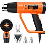 SEEKONE Heat Gun 1800W Heavy Duty Hot Air Gun Kit with 752℉&1112℉ Dual-Temperature Settings and 4 Nozzles for Crafts…
