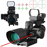 Beileshi 3-in-1 Useful 2.5-10x40 Tactical Rifle Scope Dual Illuminated Mil-dot with Red Laser w/ Rail Mount & 4 Reticle Holographic Green / Red Dot Sight