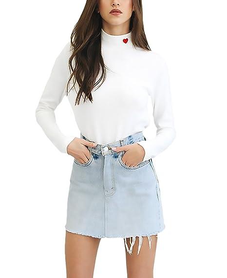 Mujer Camisetas Blancas Manga Larga Camisas Basicas Elegantes Bordado Sencillos Especial Cuello Alto Slim Fit T