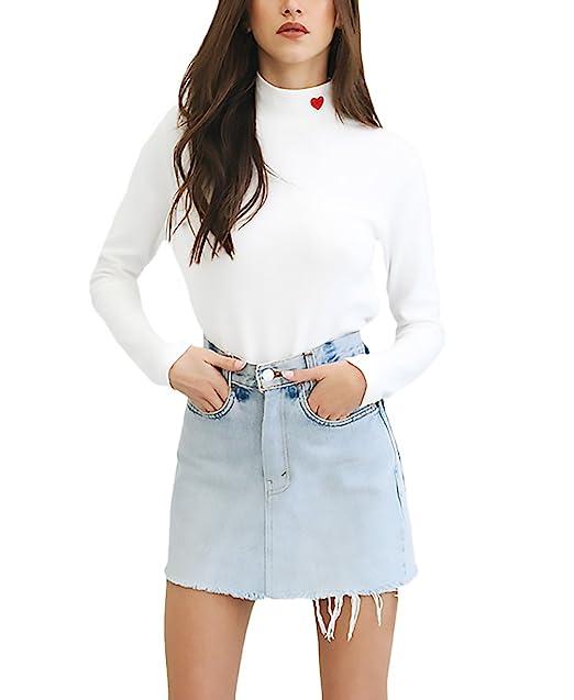 Mujer Camisetas Blancas Manga Larga Camisas Basicas Elegantes Bordado Lindo Chic Cuello Alto Slim Fit T