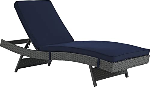 Modway Sojourn Wicker Rattan Outdoor Patio Sunbrella Fabric Chaise Lounge in Canvas Navy