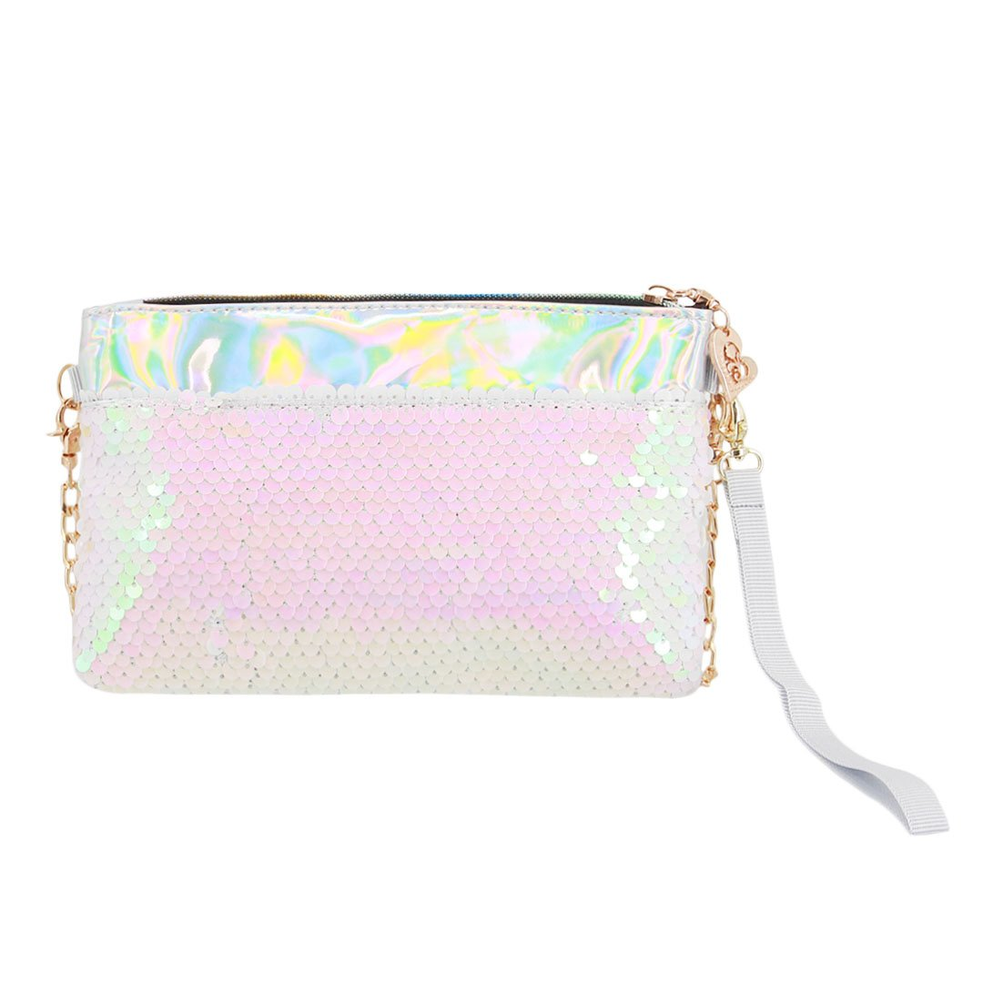 Naimo Women's Mermaid Bling Glitter Sequin Evening Bag Holographic Clutch Purse (White)