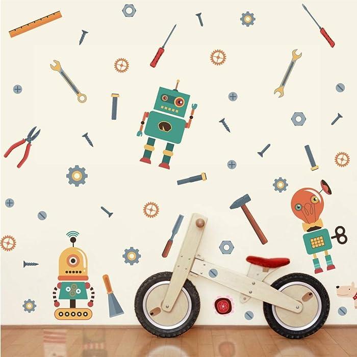 TOARTi Cartoon Robots Wall Decals,Machine Tools Mechanic Wall Stickers, Gears Wall Art Vinyl Sticker for Boys Bedroom Nursery Playroom Decor