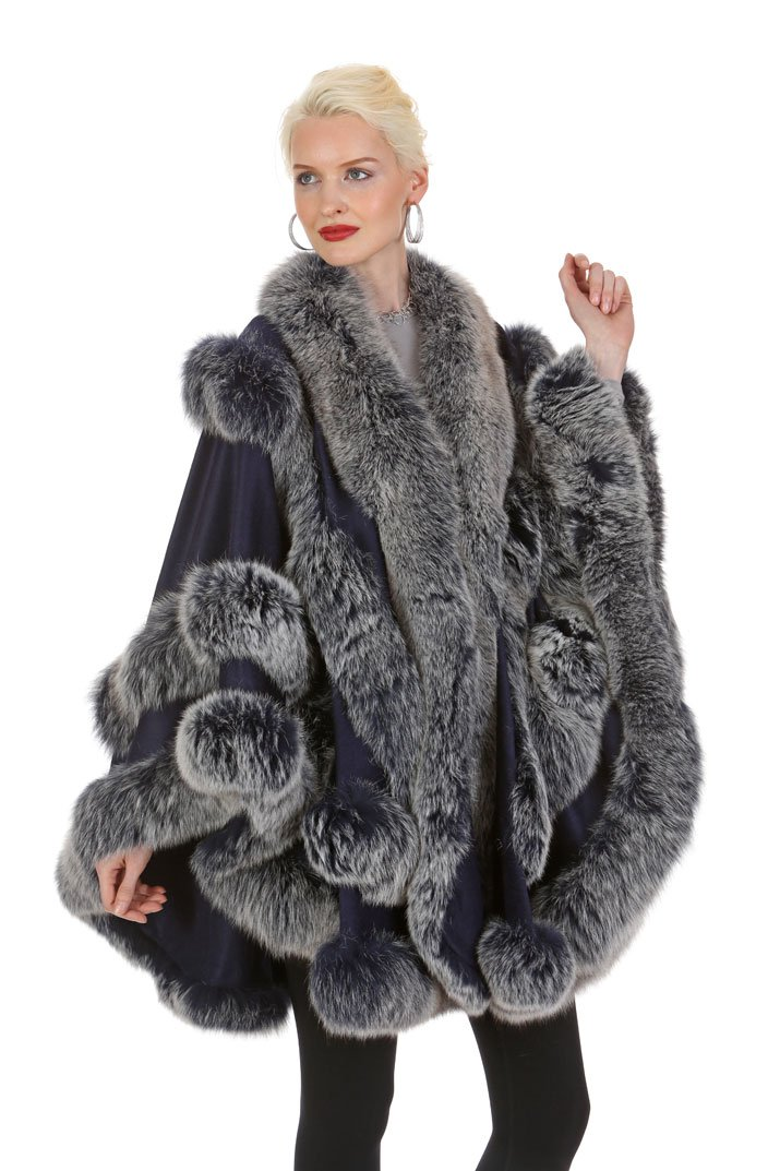 Madison Avenue Mall Navy Frost Fox Fur Trimmed Cashmere Cape - Empress Style by Madison Avenue Mall