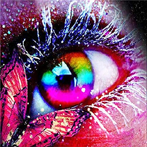 DIY 5D Diamond Painting by Number Kits,Diamond Painting Kits for Adults Beginner for Decoration Butterfly and Colored Eyeball 11.8 × 11.8in 1 Pack by Loxfir