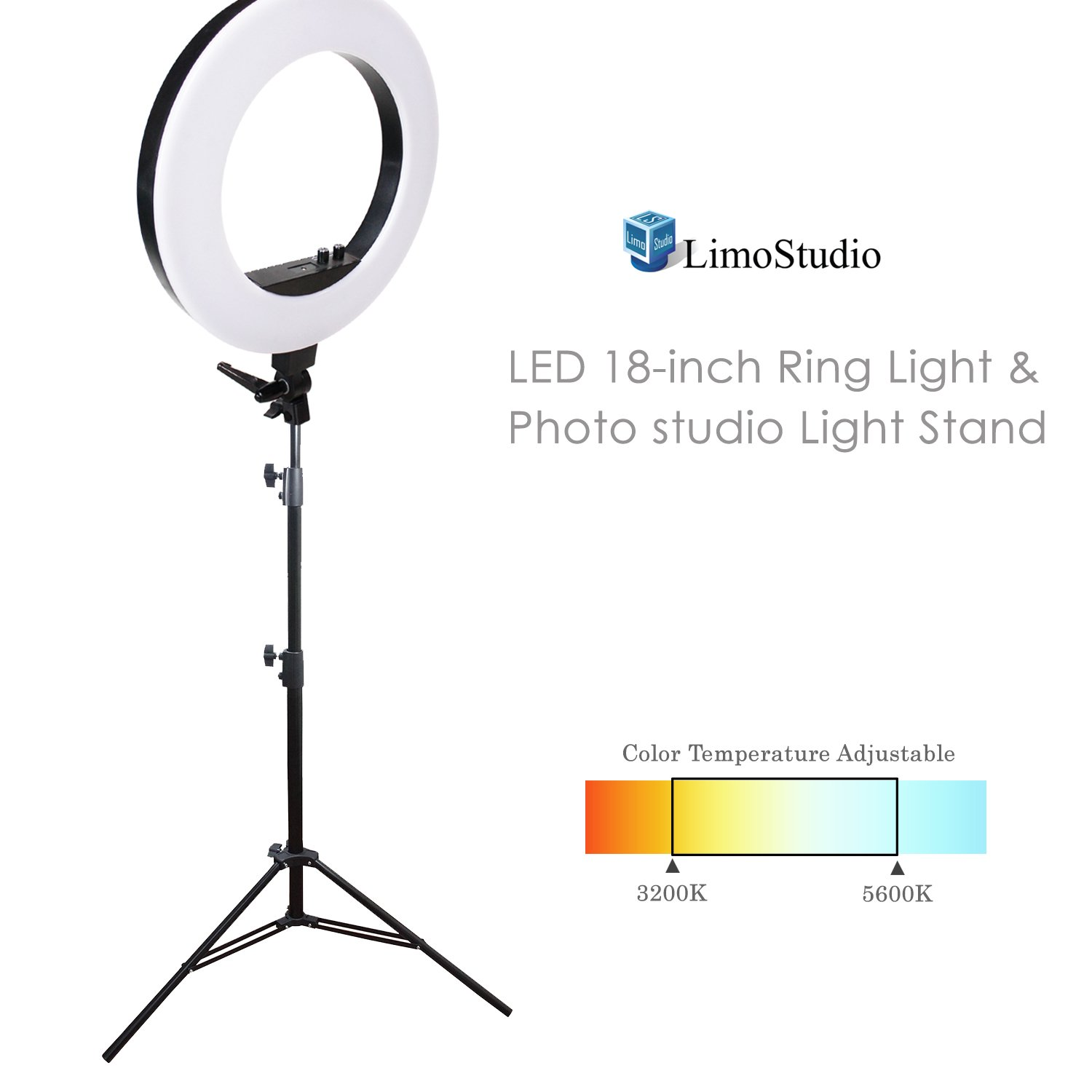LimoStudio LED 18 inch Ring Light 3200K–5600K and Dimmable with Camera Adapter & Height Adjustable Photo Studio Light Stand Tirpod, AGG2397