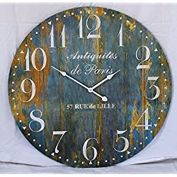 Glory & Grace Large 23 Rustic French Blue 'Antiquities of Paris' Wall Clock