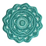 Jessica Simpson Medallion Bath Rug, Aqua Sea/Light Aqua Sea/ White