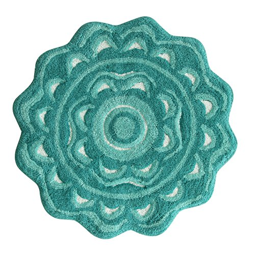 Simpsons Towel - Jessica Simpson Medallion Bath Rug, Aqua Sea/Light Aqua Sea/ White