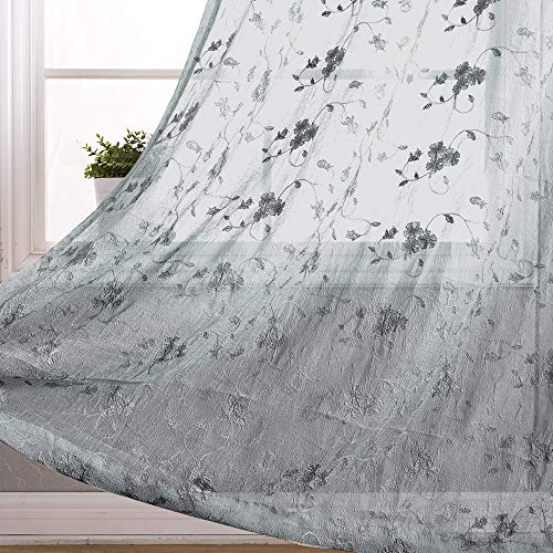 Sheer Curtains Grey 63 inch Bedroom Living Room Window Curtain Set Flower Embroidered Drapes 2 Panels