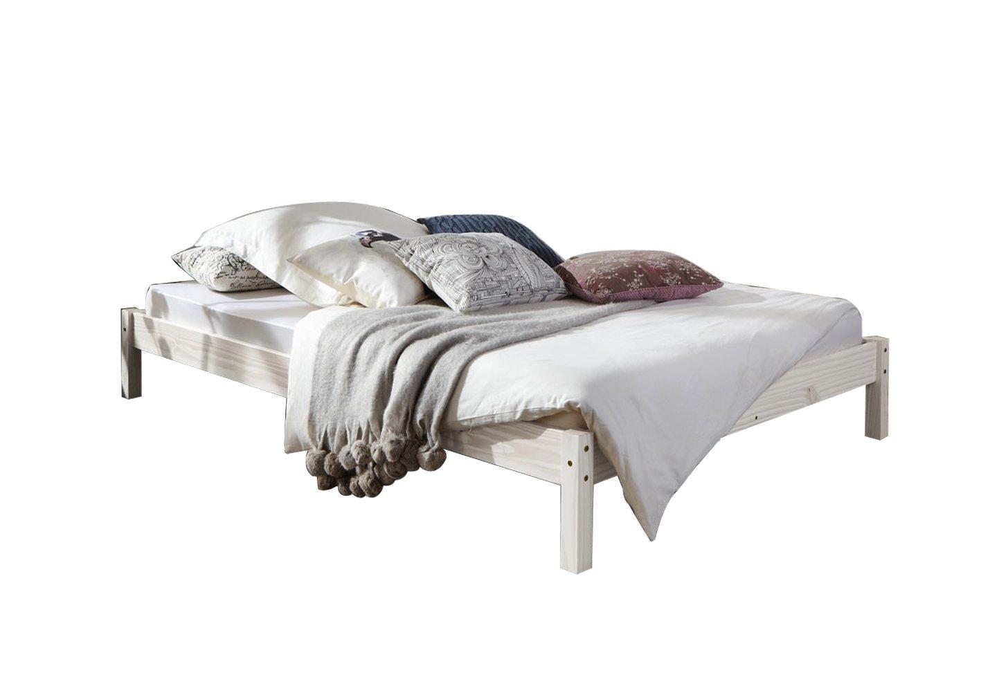 SAM® Futonbett, Gästebett weiß aus Kiefernholz, massives Bett aus Kiefer, zeitlose Optik für Ihr Schlafzimmer, 140 x 200 cm [53262795]
