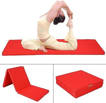 CUSCO: colchoneta de gimnasia gruesa, grande, plegable (3 secciones), espuma; para fitness, gimnasia rítmica o artística... 180 x 60 x 5 cm, rojo: Amazon.es: Deportes y aire libre