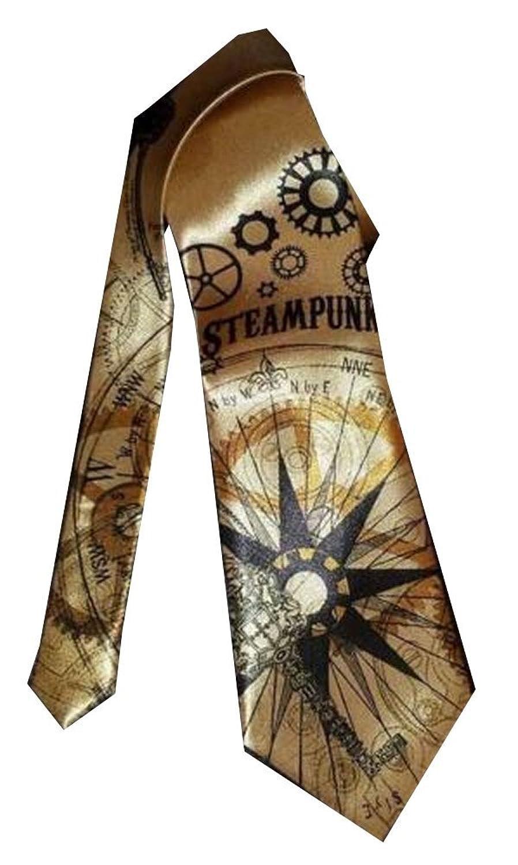 Steampunk Clothing- Men's Necktie - Custom Steampunk design Necktie - Gears Keys Maps Nautical Clock $46.97 AT vintagedancer.com