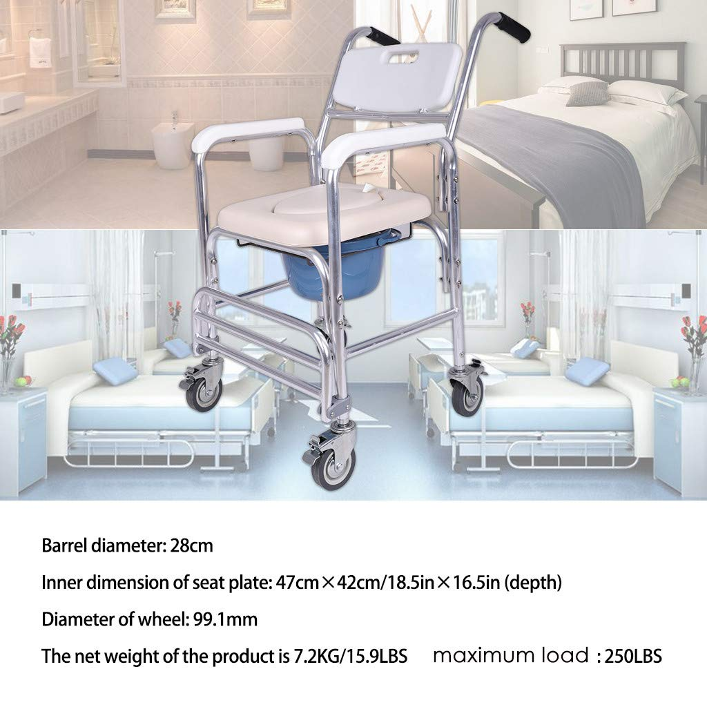 Sodoop Folding Commode, Medical Commode Bath Chair Wheelchair for Toilet with Wheels & Pedal,Portable Multifunctional Aluminum Bidet Shower Chair for Elder Disabled People Pregnant Women