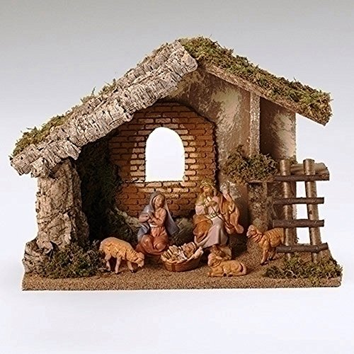 Fontanini 6 Piece Italian Christmas Nativity Set with Wooden Stable 54421 Italy by Roman