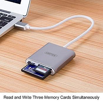 USB Card Reader, UNITEK Aluminum 3-Slot USB 3.0 Flash Memory Card Reader, Supports SanDisk Compact Flash Memory Card & Lexar Professional Compact Flash Card, 24 Months Warranty [Upgrade Version]